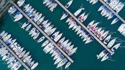 A drone view of a marina