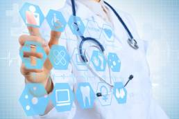 female doctor with digital health related icons