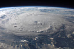 eye of a hurricane over earth from space